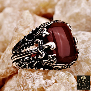 Mens Agate Gemstone Aqeeq Ring Warrior Sword Signet Jewelry