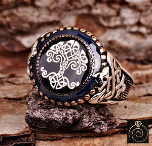 Enamel Tree of Life Silver Men's Ring