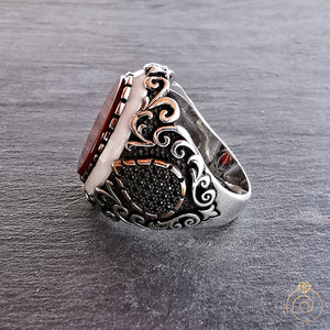 Aqeeq Opal Stone Handmade Men's Statement Ring