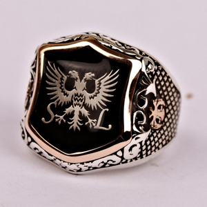 Enamel Double Headed Eagle Silver Men's Ring