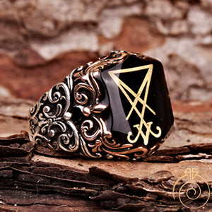 Enamel Sigil of Lucifer Silver Men's Ring