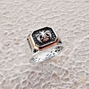 Double Head Eagle Signet Men's Ring