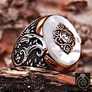 Carved Mother of Pearl Silver Men's Ring