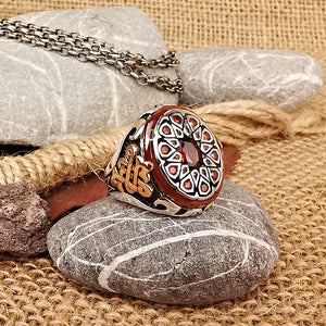 Multi Ruby Stone Celtic Men's Ring