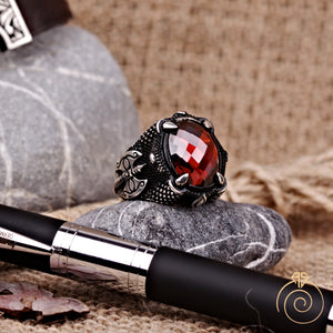 Warrior Ax Ruby Stone Men's Ring