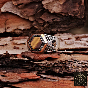 Tiger Eye Silver Men's Ring