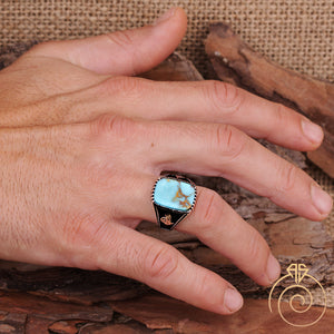 Turquoise Silver Men's Ring