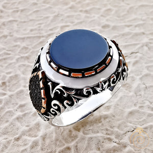 Onyx Opal Gemstone Hand Engrave Men's Ring