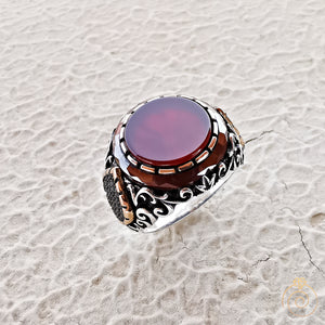 Aqeeq Stone Handmade Men's Statement Ring