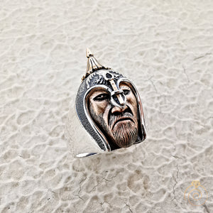 Warrior Silhouette Silver Men's Ring