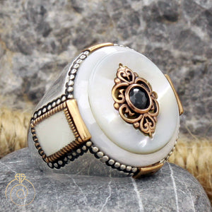 mother-of-pearl-silver-men's-ring