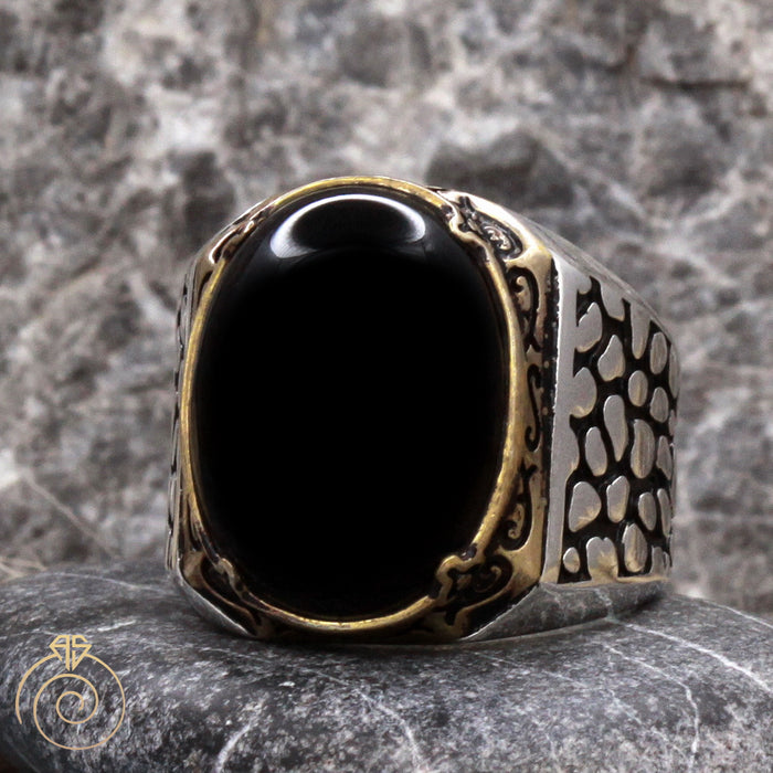 Onyx Snake Scale Silver Men's Ring