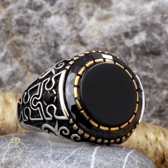 Onyx Puzzle Silver Men's Ring
