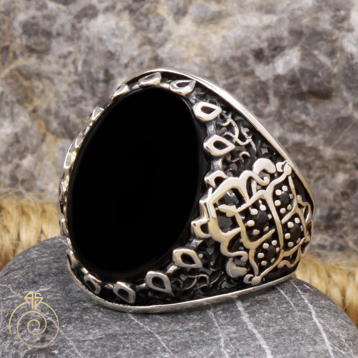 Onyx Silver Men's Antique Ring