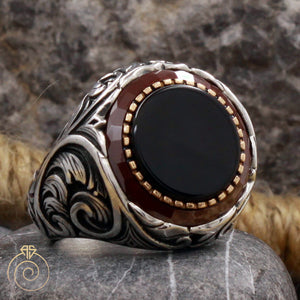 onyx-black-silver-men's-ring