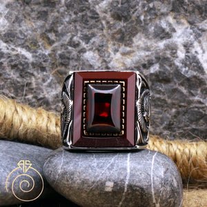 Warrior Symbol Ruby Mens Ring