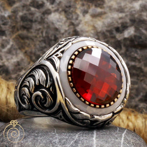 ruby-red-silver-men's-ring