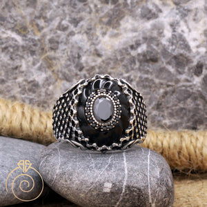 spiral-stone-net-silver-ring