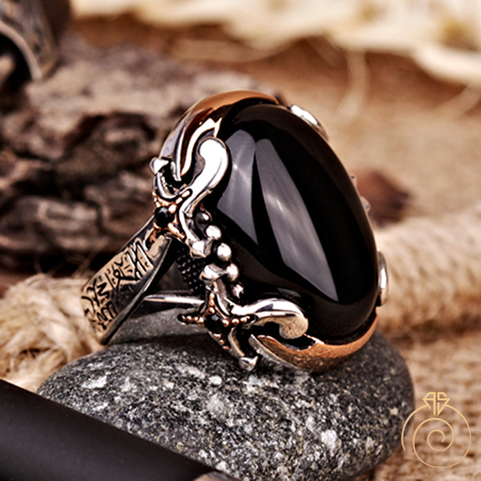 Onyx Dagger Silver Men's Ring