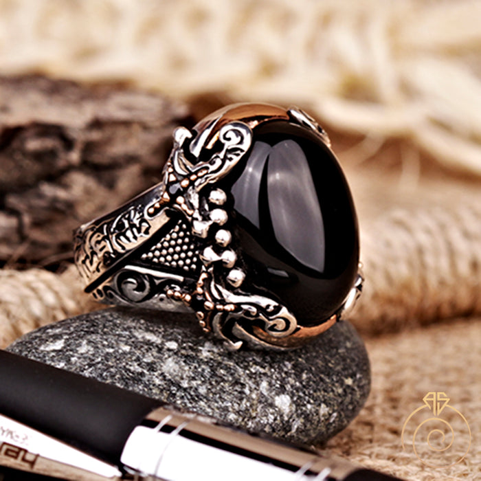 Onyx Sword Silver Men's Ring