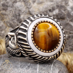 Tiger Eye Stone Emperor Face Ring
