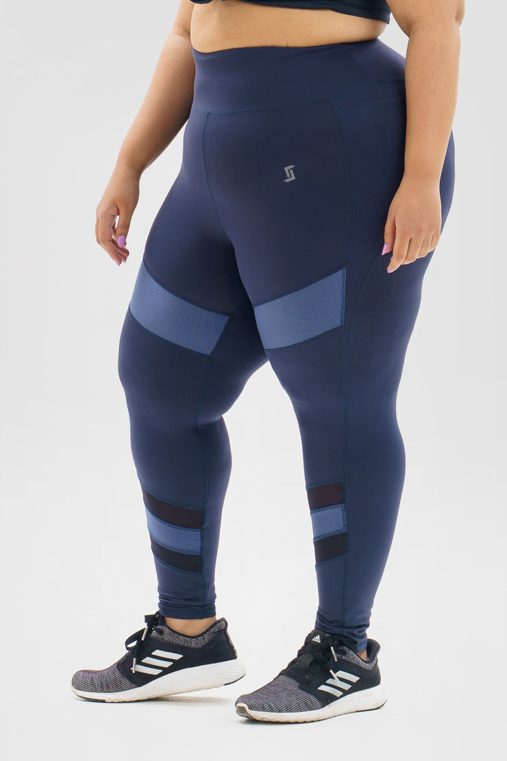 Mesh Compression Legging: Blue