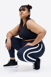 Contrast Side Tape Legging: Navy Blue