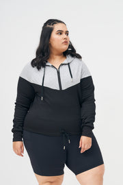 Ms. Zippy Crop Hoodie: Black