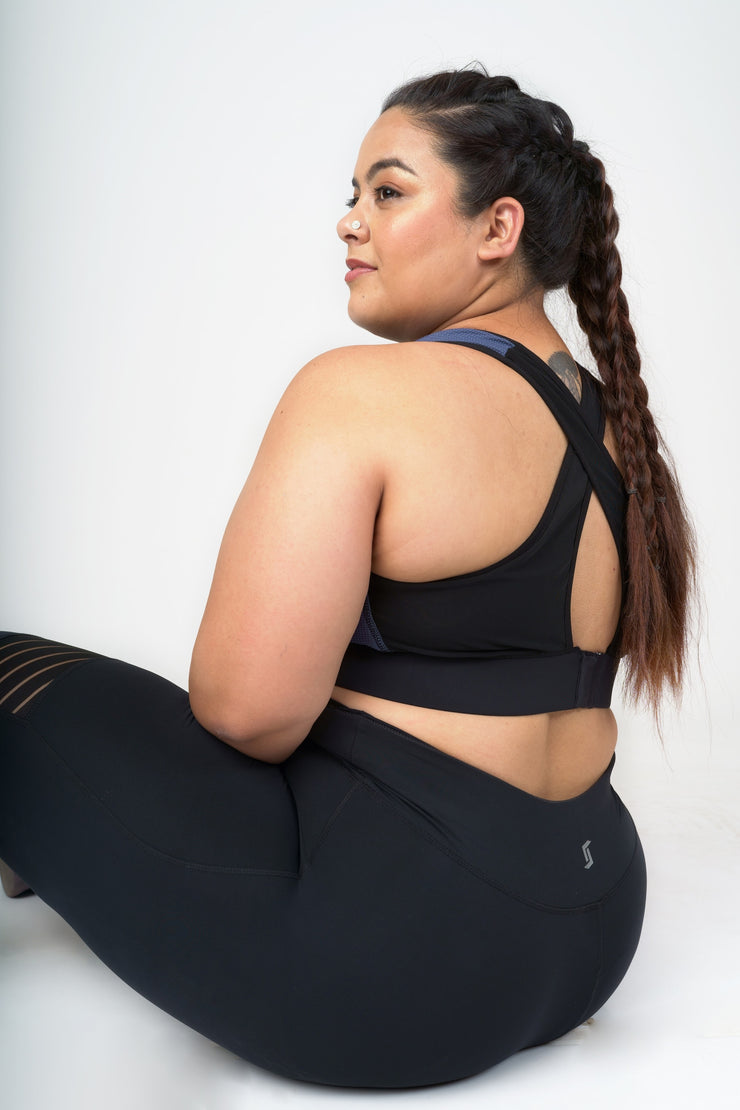 Mesh in Black Sports Bra: Medium Support