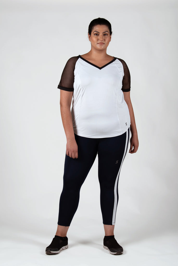 Black Mesh Sleeve Raglan Tee: White