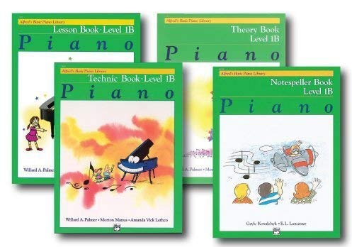 Alfred Basic Piano Library Course Pack Level 1B - Four book set - Includes - Lesson, Theory, Technic and Notespeller Books