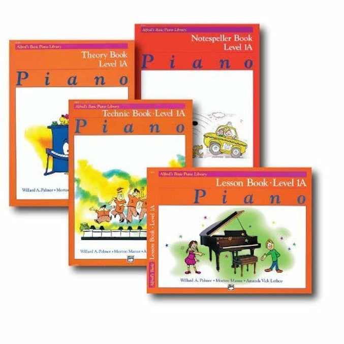 Alfred Basic Piano Library Course Pack Level 1A - Four book set includes - Lesson, Theory, Technic and Notespeller Books