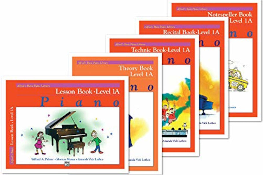 Alfred's Basic Piano: Level 1A Books Set of 5 Includes Lesson Book 1A, Theory Book 1A, Technic Book 1A, Recital Book 1A, and Notespeller Book 1A