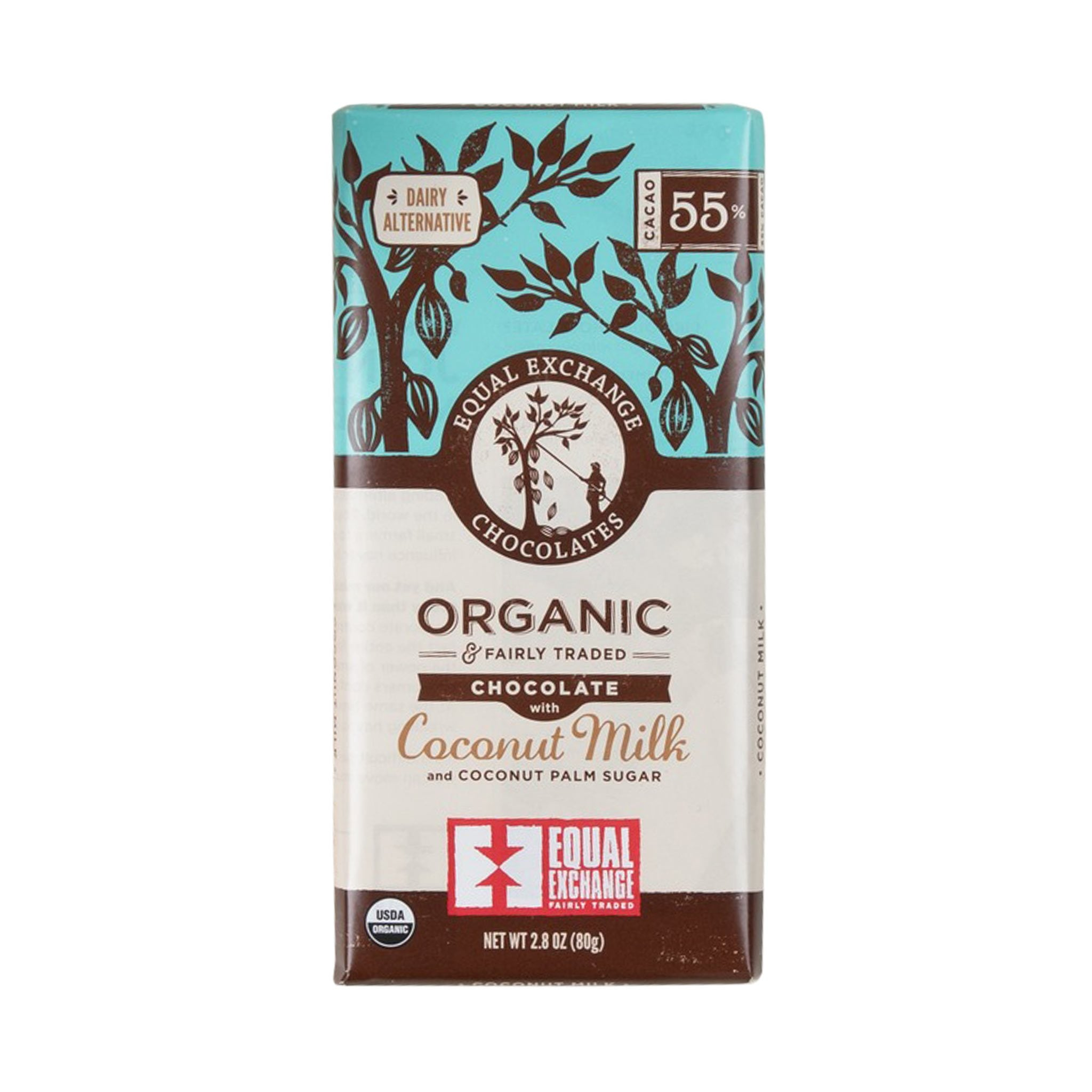 Organic Chocolate with Coconut Milk (55% CACAO)