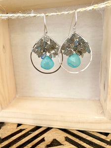 Labradorite and Chalcedony Hoop Earrings
