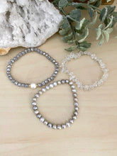 Load image into Gallery viewer, Freshwater Pearl and Clear Crystal Quartz Stacking Bracelet Set - Set of 3