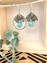 Load image into Gallery viewer, Labradorite and Chalcedony Hoop Earrings