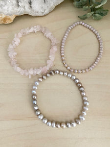 Freshwater Pearl and Rose Quartz Stacking Bracelet Set - Set of 3