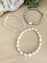 Load image into Gallery viewer, White Freshwater Pearl and Clear Crystal Quartz Stacking Bracelet Set - Set of 3