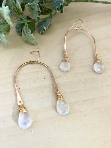 Moonstone Drops on a U shaped frame - 14k Gold fill
