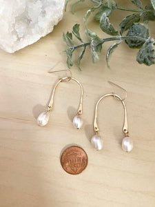 Freshwater Pearl Drops on a U shaped frame - 14k Gold fill