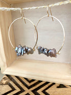 Noori Earrings - Inverted Hammered Hoops with Grey Freshwater Pearls - Sterling Silver or Gold Fill