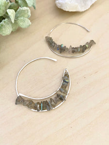 Crescent Moon Earrings with Labradorite - Sterling Silver