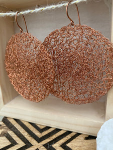 Wire Crochet Copper Tanya Earrings - Extra Large Copper Disc Earrings