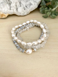 White Freshwater Pearl and Clear Crystal Quartz Stacking Bracelet Set - Set of 3