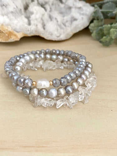 Freshwater Pearl and Clear Crystal Quartz Stacking Bracelet Set - Set of 3