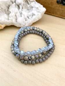 Grey Triple Wrap Bracelet