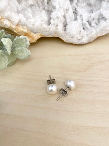 White Freshwater Pearls on Surgical Steel Posts - 7.5-8mm