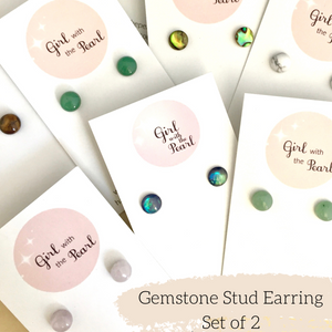 Gemstone Stud Earring Pack - Set of 2 for $25