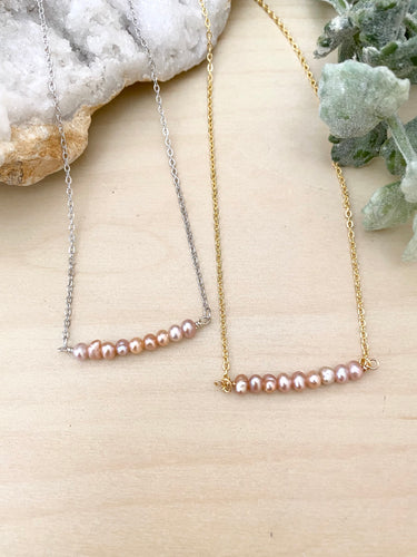 Pink Pearl Bar Necklace